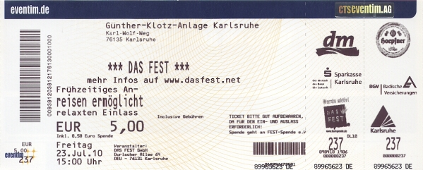Ticket Das Fest 23.07.2010