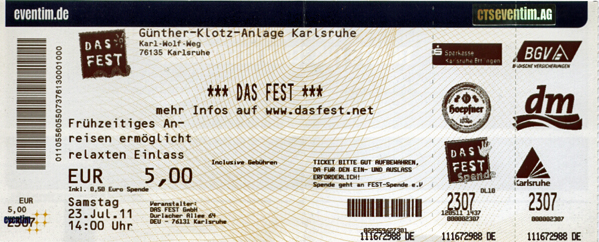Ticket Das Fest